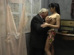 Young girls giving blowjob and fun to mature men