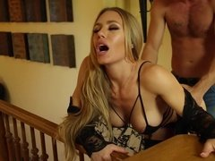 Horny housewife got fucked in bath and bedroom