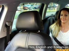 Romanian woman fucked in the car by fake taxi driver