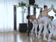 Three ballet dancer fucked hard by their instructor