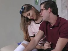 Step sister fucks nerd step brother